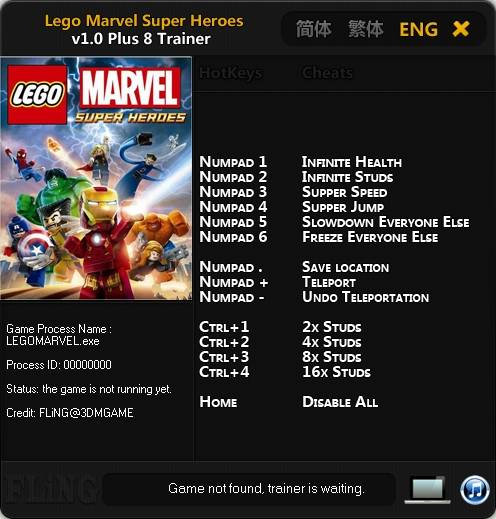 92sf LEGO Marvel Super Heroes 1.0.0.12856 +8 Trainer