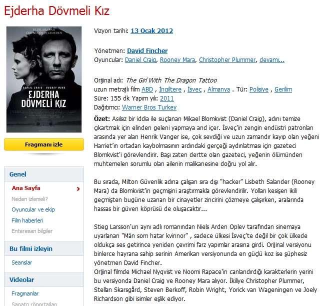 Ejderha Dövmeli Kız - 2011 Türkçe Dublaj BDRip Tek Link indir