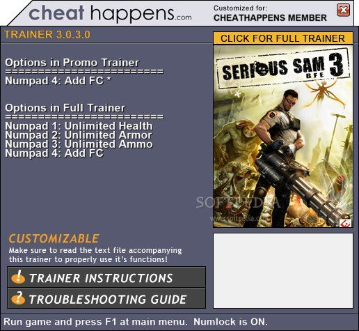 serioussam3bfe1trainer1 Serious Sam 3: BFE 3.0.3.0 Promo Trainer