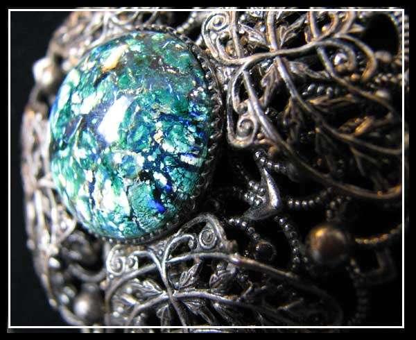Antique VTG Russian ART DECO Filigree & Glass NECKLACE